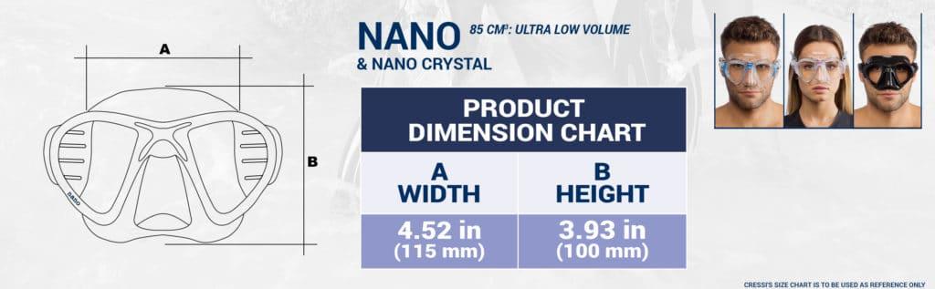Cressi Nano Maske Maße